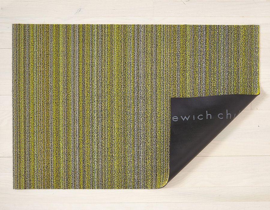 "Chilewich Skinny Stripe Shag Doormat - Citron 18"" x 28"""