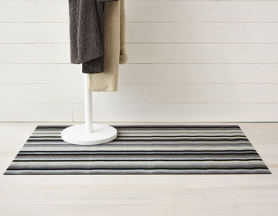 "Chilewich Even Stripe Shag Big Mat - Mineral 36"" x 60"""