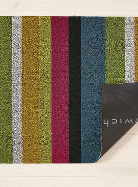 "Chilewich Bold Stripe Shag Doormat - Multi 18"" x 28"""