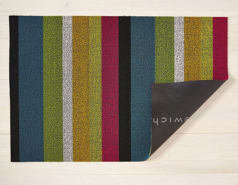 "Chilewich Bold Stripe Shag Doormat - Multi 18"" x 28"""