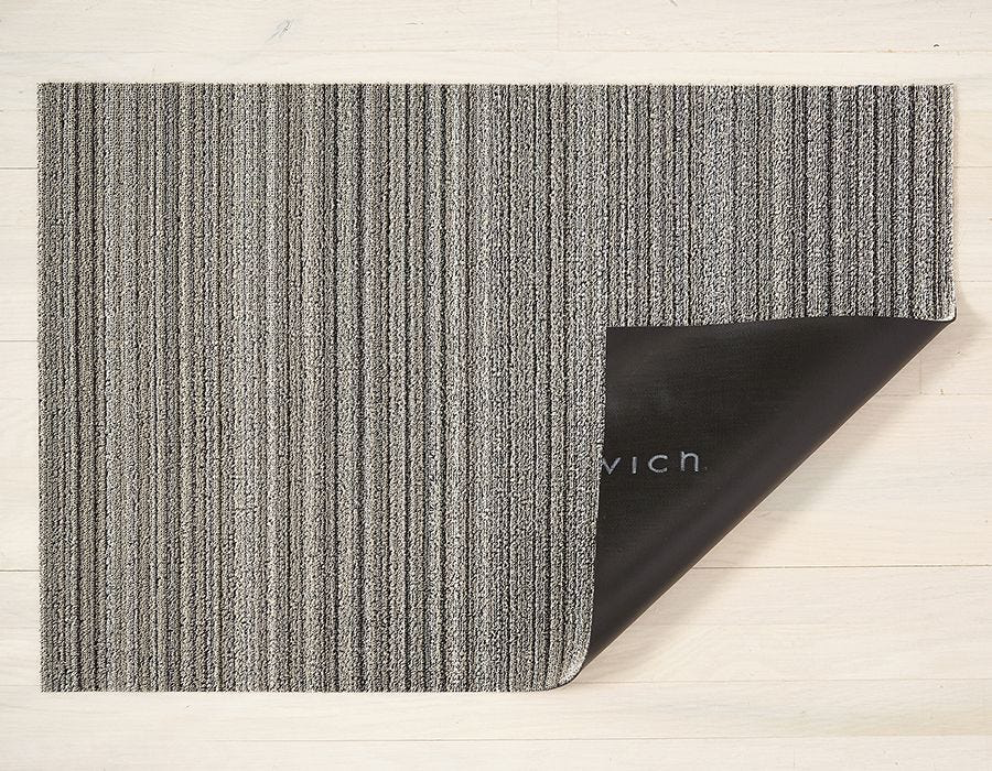 "Chilewich Skinny Stripe Shag Doormat - Birch 18"" x 28"""