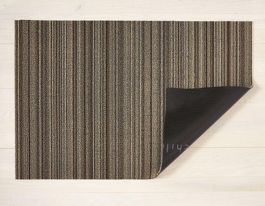 """Chilewich Skinny Stripe Shag Doormat - Mushroom 18"""" x 28"""""""