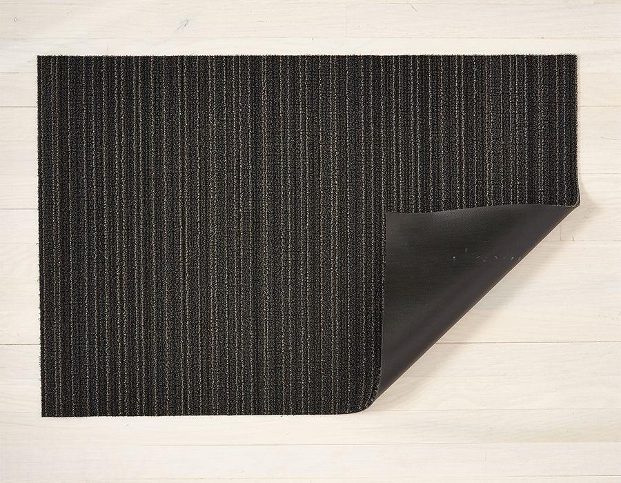 "Chilewich Skinny Stripe Shag Doormat - Steel 18"" x 28"""