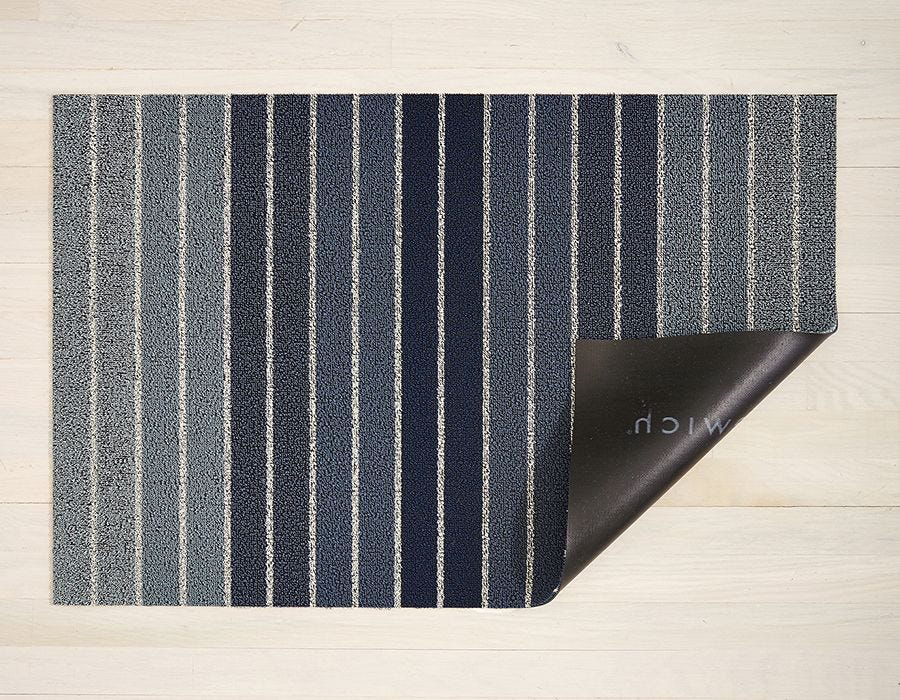 "Chilewich Block Stripe Shag Doormat- Denim 18"" x  28"""