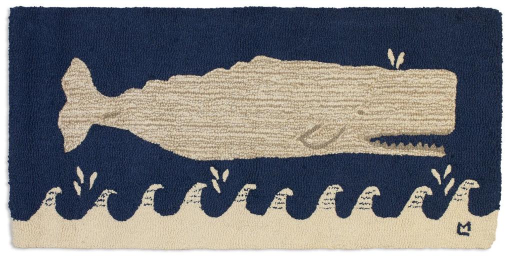 White Whale on Navy Rug - Blue & White 2' X 4'