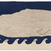 Great White Wavy Whale on Navy Runner - Blue & White 2.5' x 8'