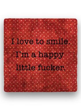 i love to smile Coaster - Natural Stone