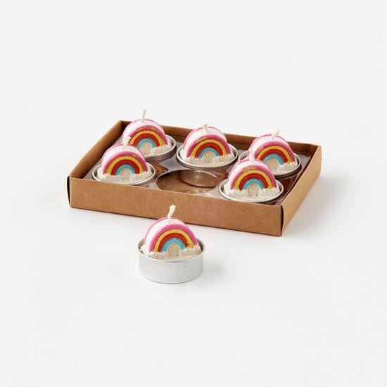 "Rainbow T-Light, Boxed St/6, 1.5"""