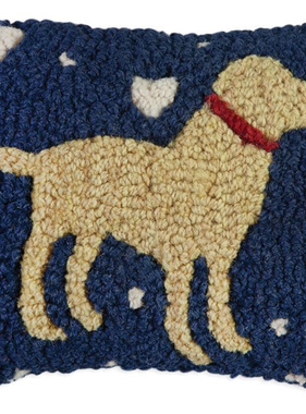 """Lab Love on Blue Hooked Wool Pillow 8"""" x 12"""""""