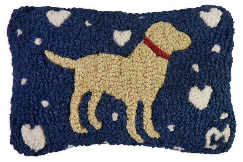 "Lab Love on Blue Hooked Wool Pillow 8"" x 12"""