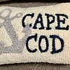 """Cape Anchor Hooked Wool Pillow 8"""" x 12"""""""
