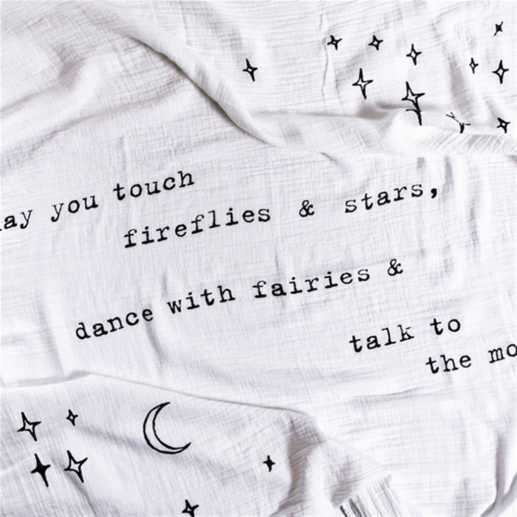 "Swaddle Blanket - May You Touch Fireflies 47"" x 47"""