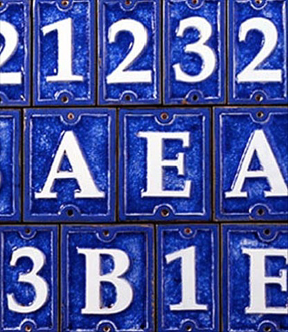 "House Numbers - Crackled Cobalt Blue Ceramic 2.5""W x 4.25""H x .375""D"