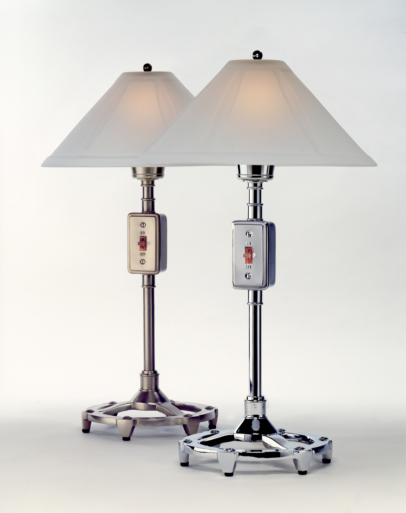 """Industrial Table Lamp - Polished Chrome 14""""R x 24""""H, (60 W - 75 W bulb not included)"""