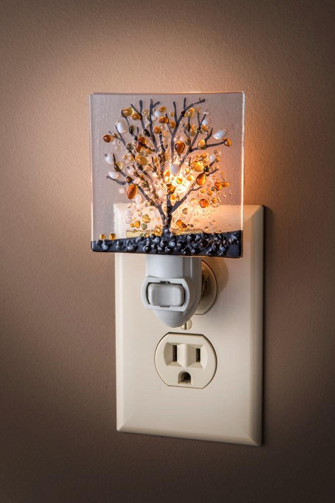 "Night Light - Fused Glass Tree Browns 3"" x 2.25"" x 4.5"""