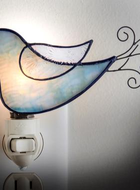 "Night Light - Blue Bird Wire Tail  4"" x 2"" x 5.5"""