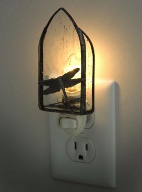 "Night Light - Clear Seedy Glass Dragonfly 2.25"" x 5"" x 1.5"""