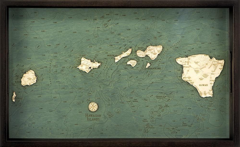 """Hawaiian Islands Tray 22"""" x 21"""" x 14"""""""