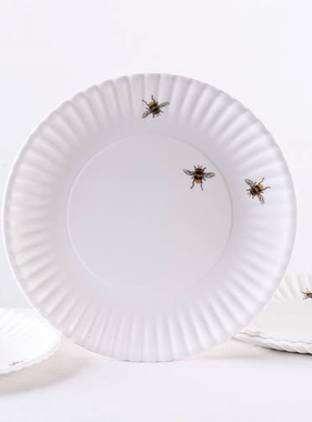 "Melamine ""Paper"" Plates -Bees 9"" Set of 4"