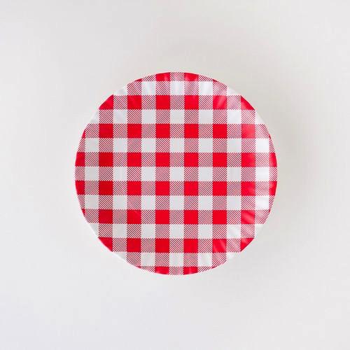 "Melamine ""Paper"" Plates -Red Gingham  9"" Set of 4"