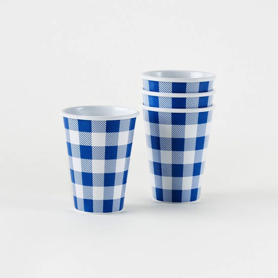 Melamine Cups - Blue Gingham 12 oz