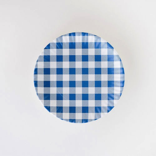 "Melamine ""Paper"" Plates - Blue Gingham 9"" Set of 4"