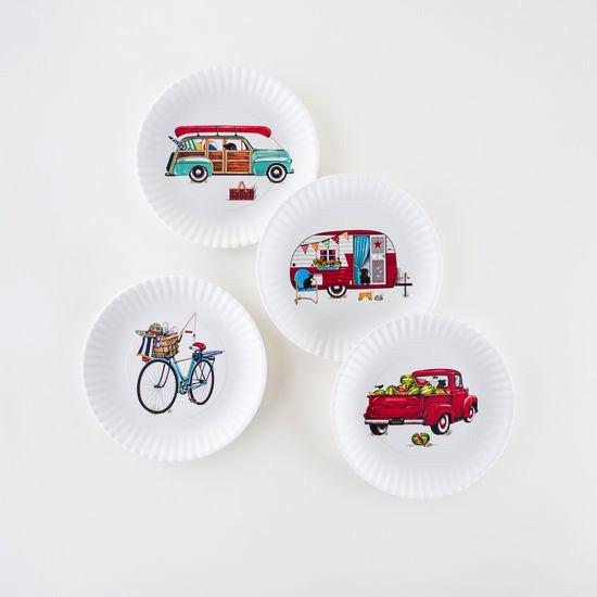 "Melamine ""Paper"" Plates - Summertime 9"" Set of 4 Assorted"