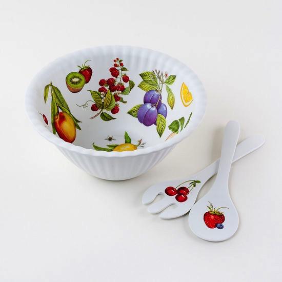 "Melamine ""Paper"" Fruit Bowl w/Tongs - 11.5"""