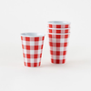 Melamine Cups - Red Gingham 12 oz
