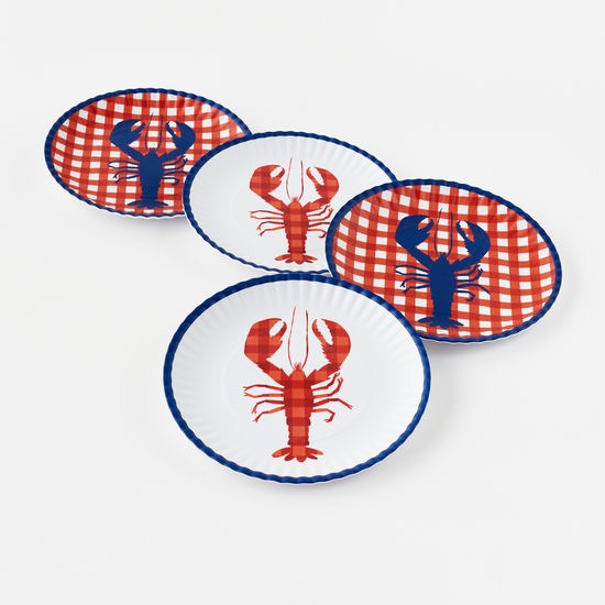 "Melamine ""Paper"" Plates - Lobster 9"" Set of 4"