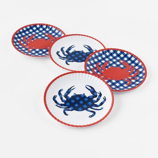 """Melamine """"Paper"""" Plates - Crab 9"""" Set of 4"""
