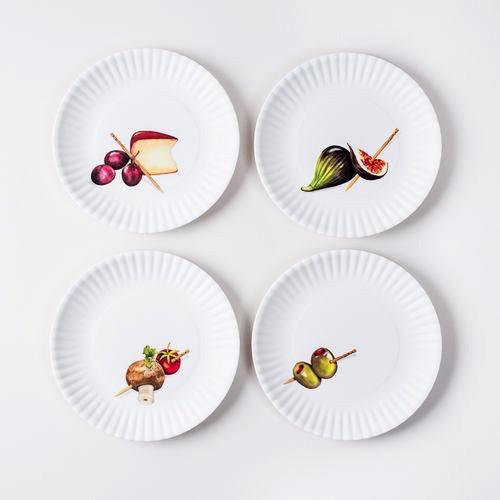 "Melamine Appetizer Plates - 6"" Set of 4"