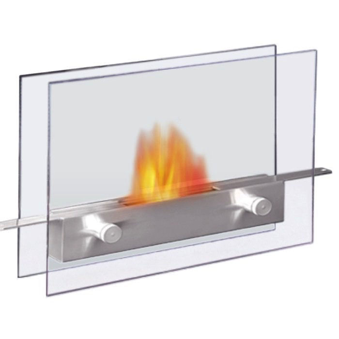 """Care Free Fireplace - Stainless & Glass - 14""""W x 11""""H x 5""""D"""