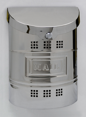 """Steel Mailbox - Polished Finish & Matching Steel """"Mail"""" Label 11.25""""W x 15""""H x 4.5""""D"""