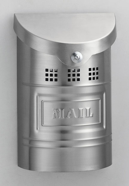 """Steel Mailbox - Brushed Finish & Matching Steel """"US Mail"""" Label 8""""W x 11""""H x 3.5""""D"""