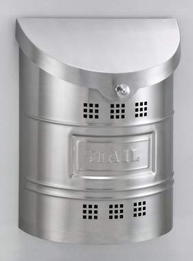 """Steel Mailbox - Brushed Finish & Matching Steel """"US Mail"""" Label 11.25""""W x 15""""H x 4.5""""D"""