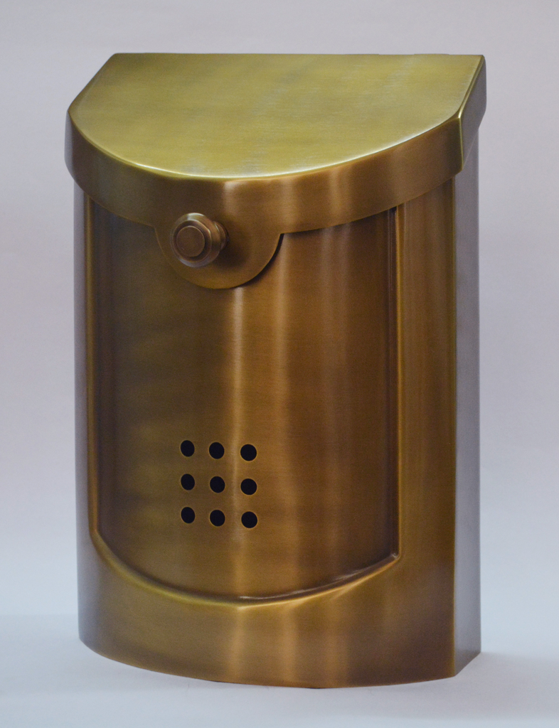 "Contemporary Mailbox Satin Brass 8.5"" x 12""H x 4""D"