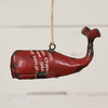 """Reclaimed Metal Ornament - Whale Red 5.25""""L x 2.75""""W x 2.75""""H"""