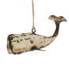 """Reclaimed Metal Ornament - Whale White 5.5"""" x 2.5"""" x 2"""""""