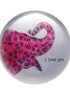 """Pink Elephant  Paperweight  4"""" x 4"""" PW121"""
