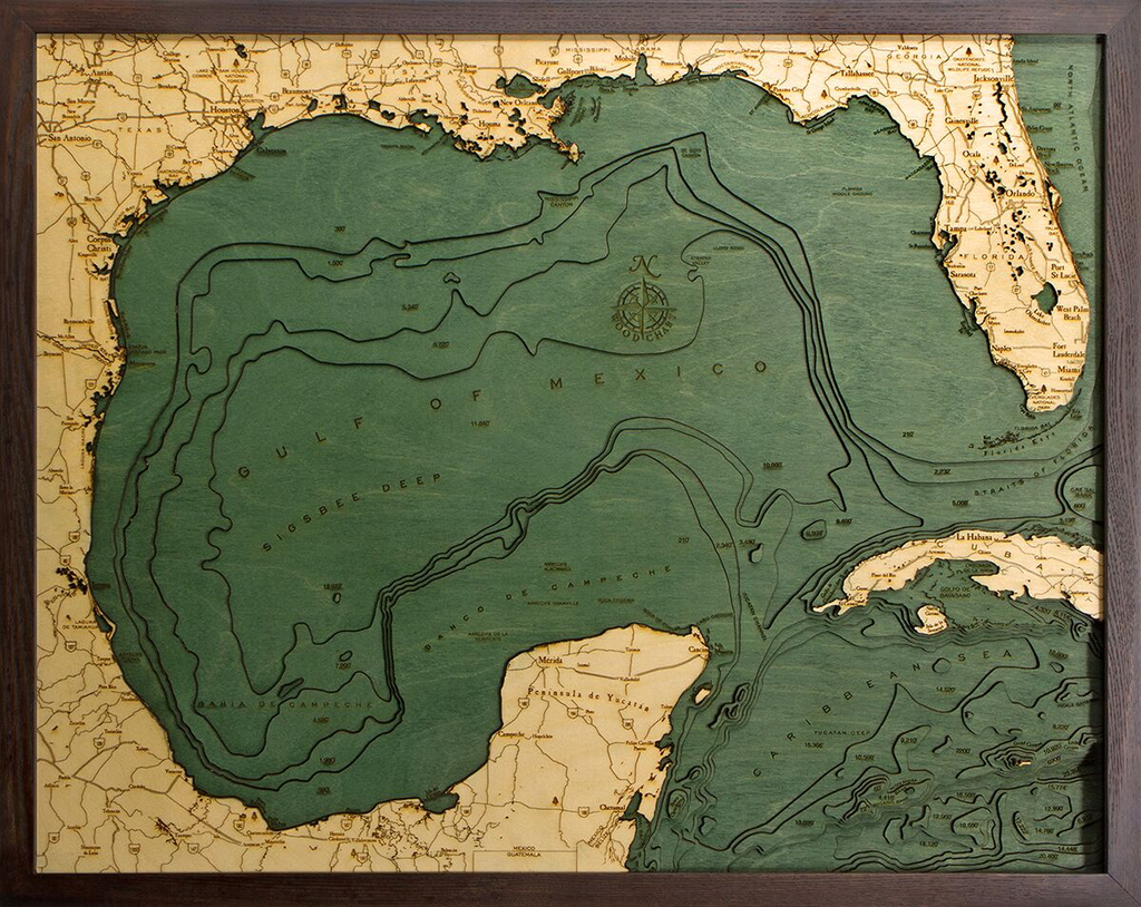 """Gulf of Mexico Wood Carving  24.5""""L x 31""""H"""