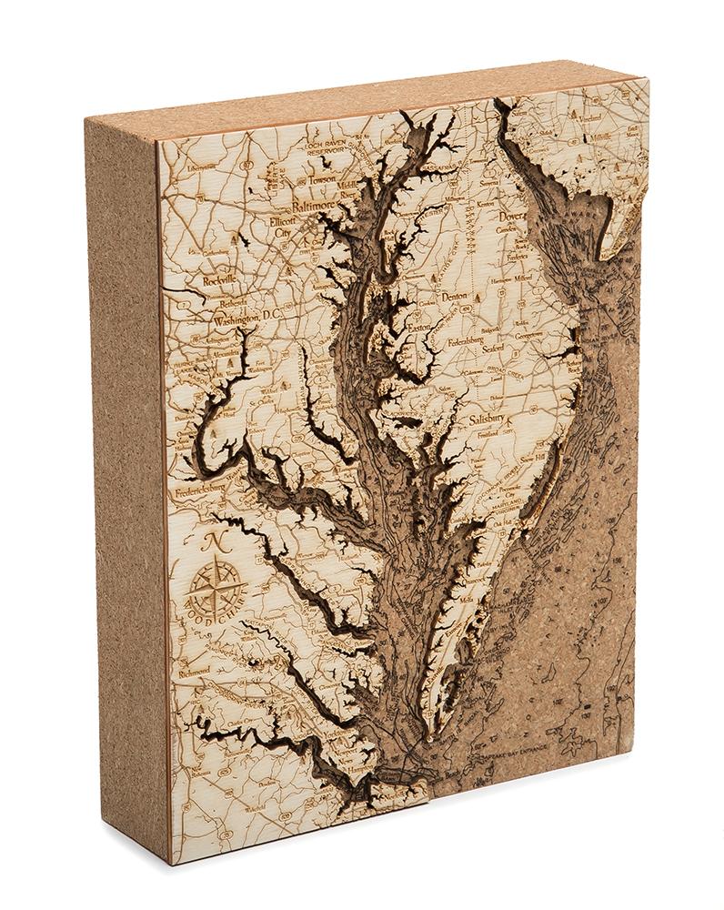"Chesapeake Cork Map 8"" x 10"""