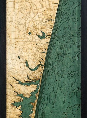 """New Jersey North Shore Wood Carving 13.5"""" x 43"""""""