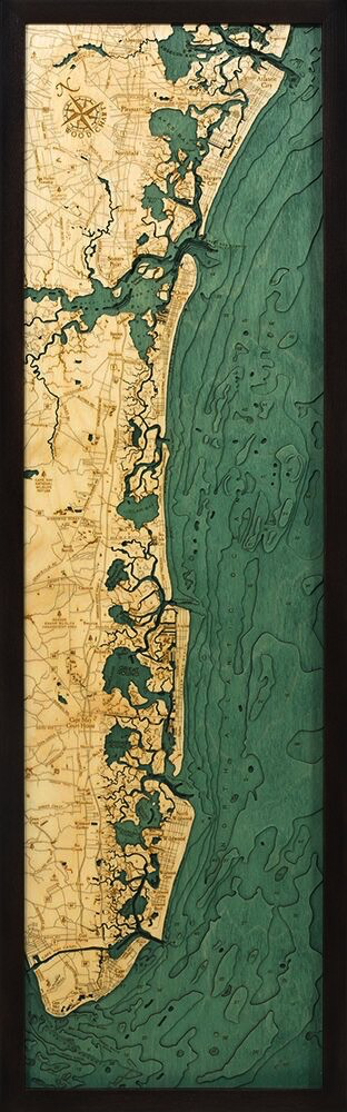 "New Jersey South Shore Wood Carving 13.5"" x 43"""