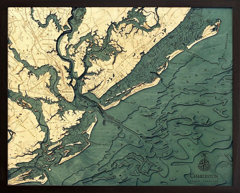 "Charleston Wood Map 24.5"" x 31"""