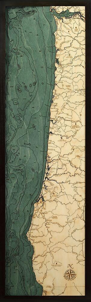 "Oregon Coast Wood Map 13.5"" x 43"""