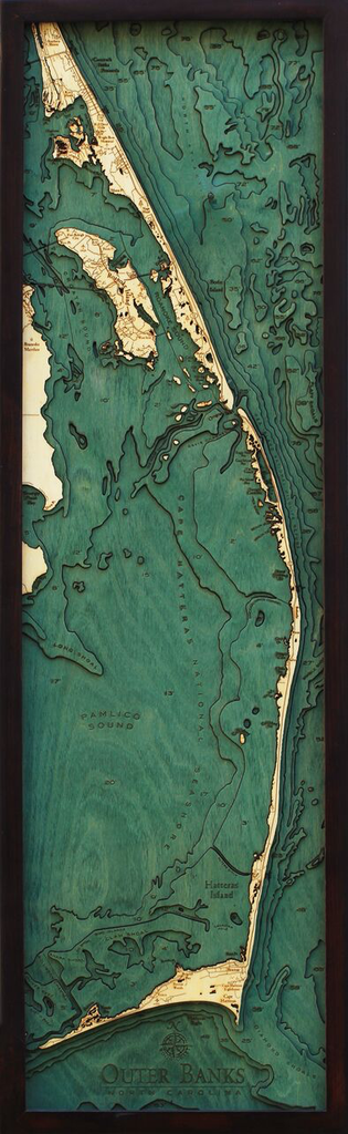 """Outer Banks Wood Map 13.5"""" x 43"""""""