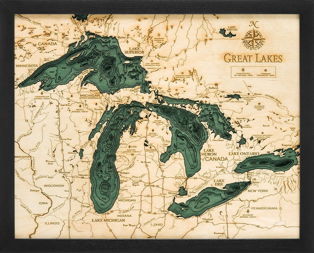 """Small Great Lakes Wood Carving 16""""H x 20""""W"""