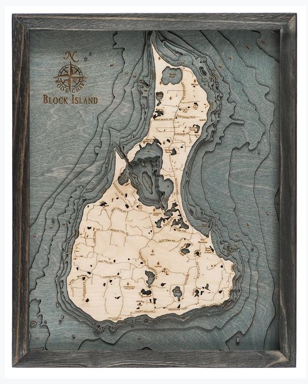 """Block Island Wood Carving - Grey Frame 16""""W x 20""""L"""