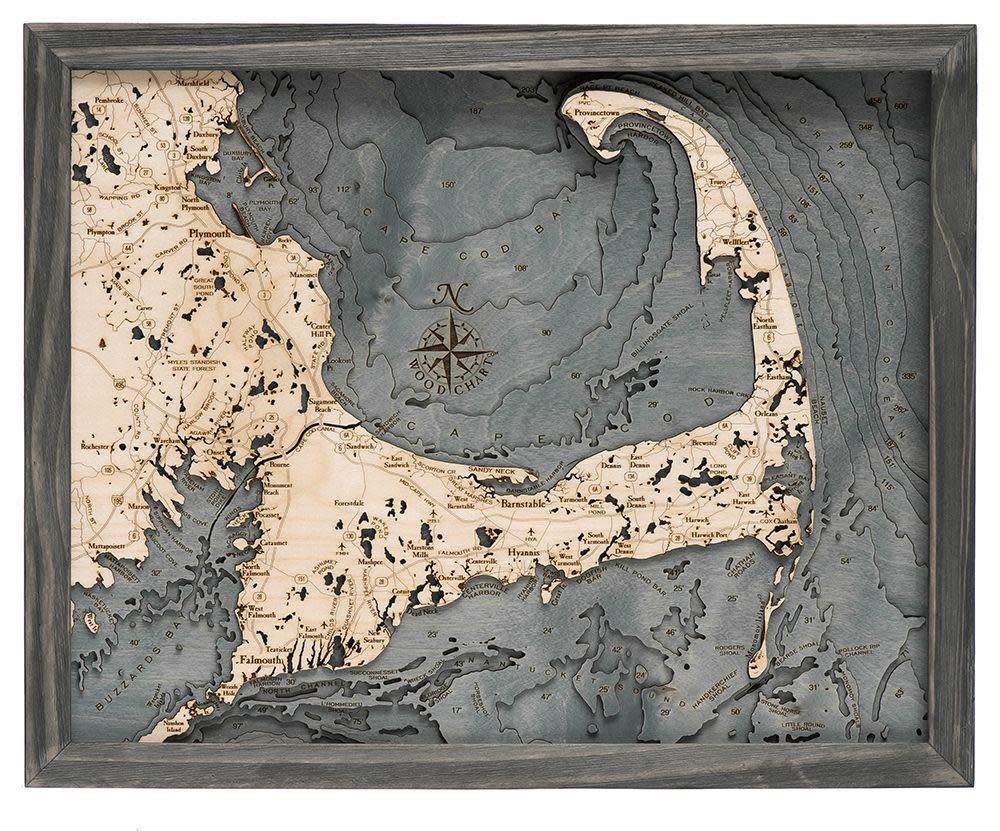 """Small Cape Cod Wood Carving - Grey Frame 16""""W x 20""""L"""